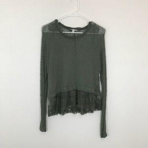 Army Green American Eagle Crochet Sweater